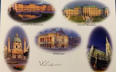 Razglednica za učence 2.b iz slovenskega veleposlaništva na Dunaju